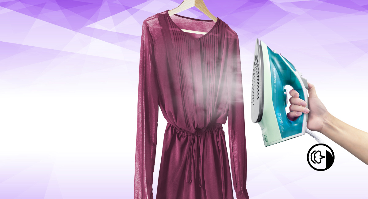Remove wrinkles from hanging garments