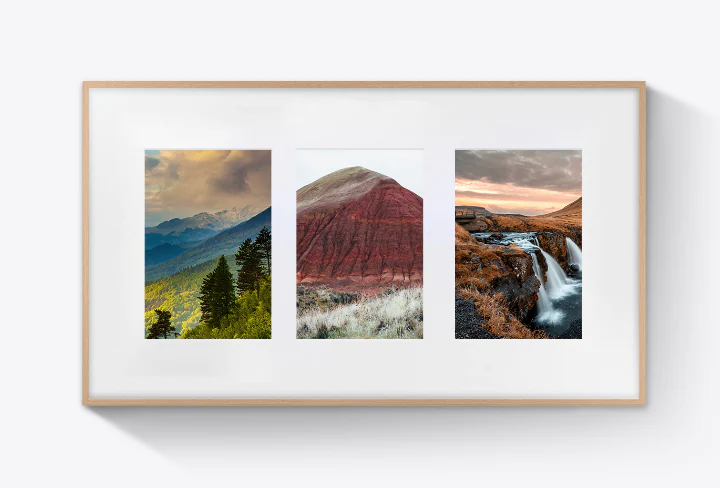 Three artworks are evenly laid out on top of one of The Frame's Mat Canvas options.