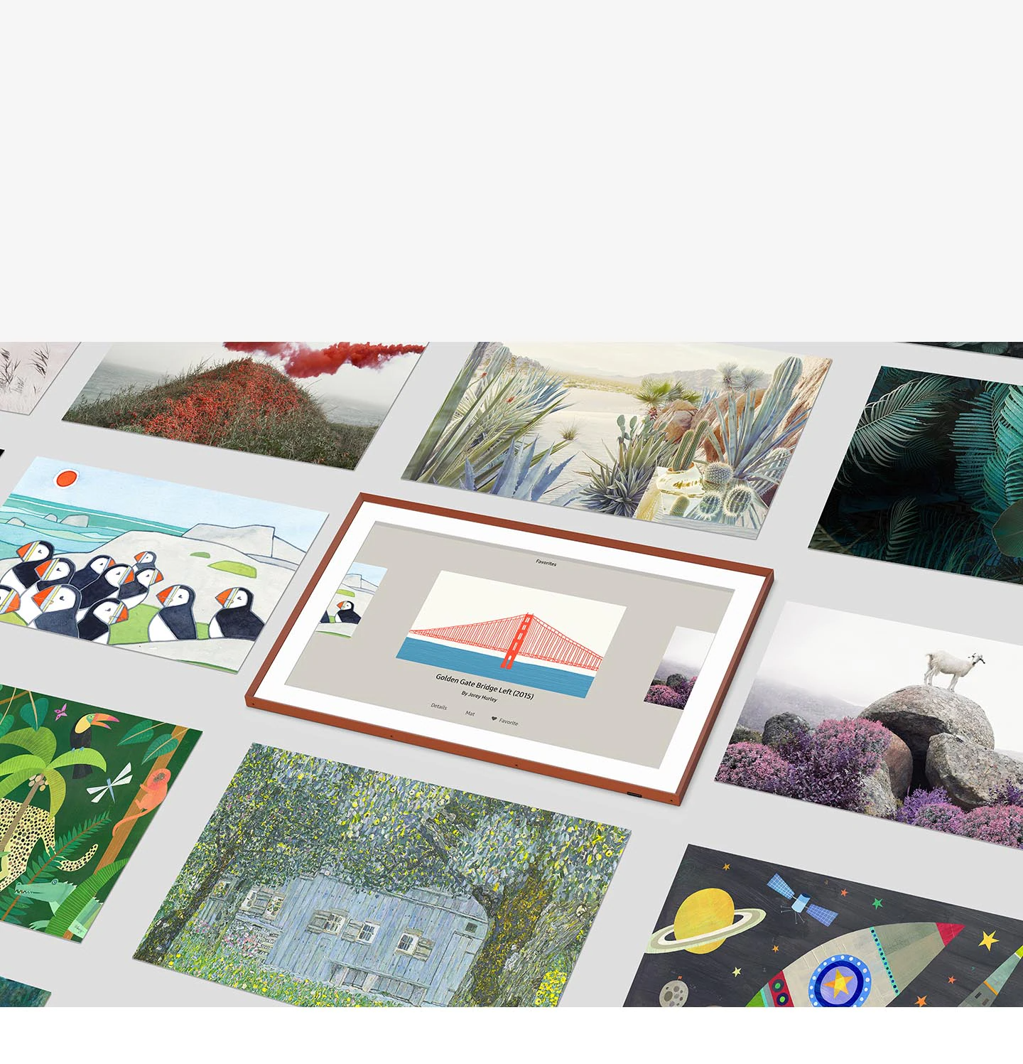 Art Mode user interface image shows bridge and water picture being selected among various other artwork choices.