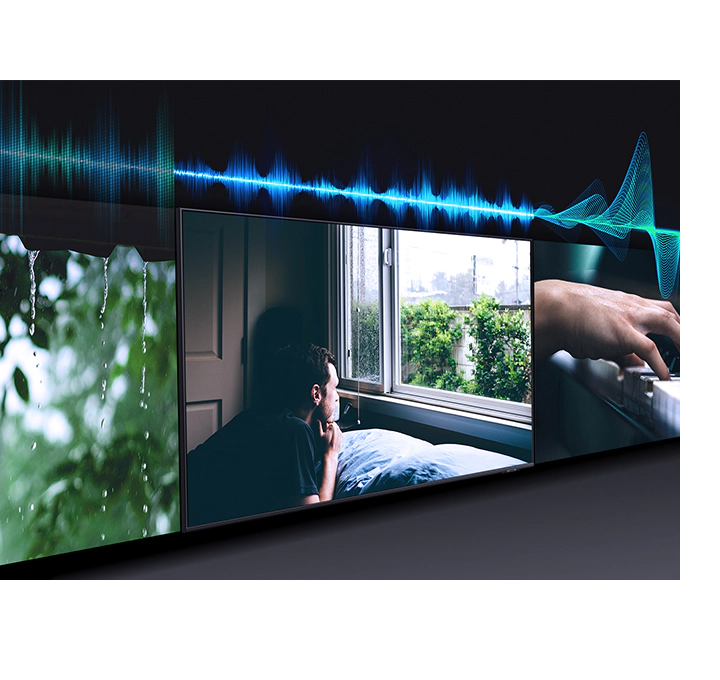Simulated sound wave graphics show audio scenic intelligence technology optimizing TV sound from music to cinema scene.