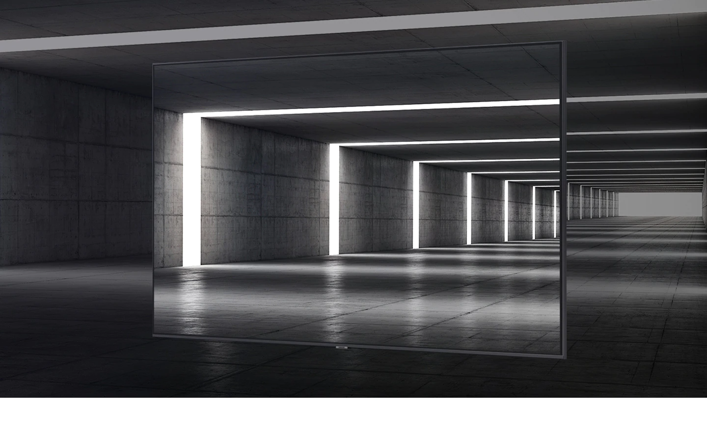 3-Bezeless Design of AU7000 can be seen on top of artistic angle of tunnel interior.