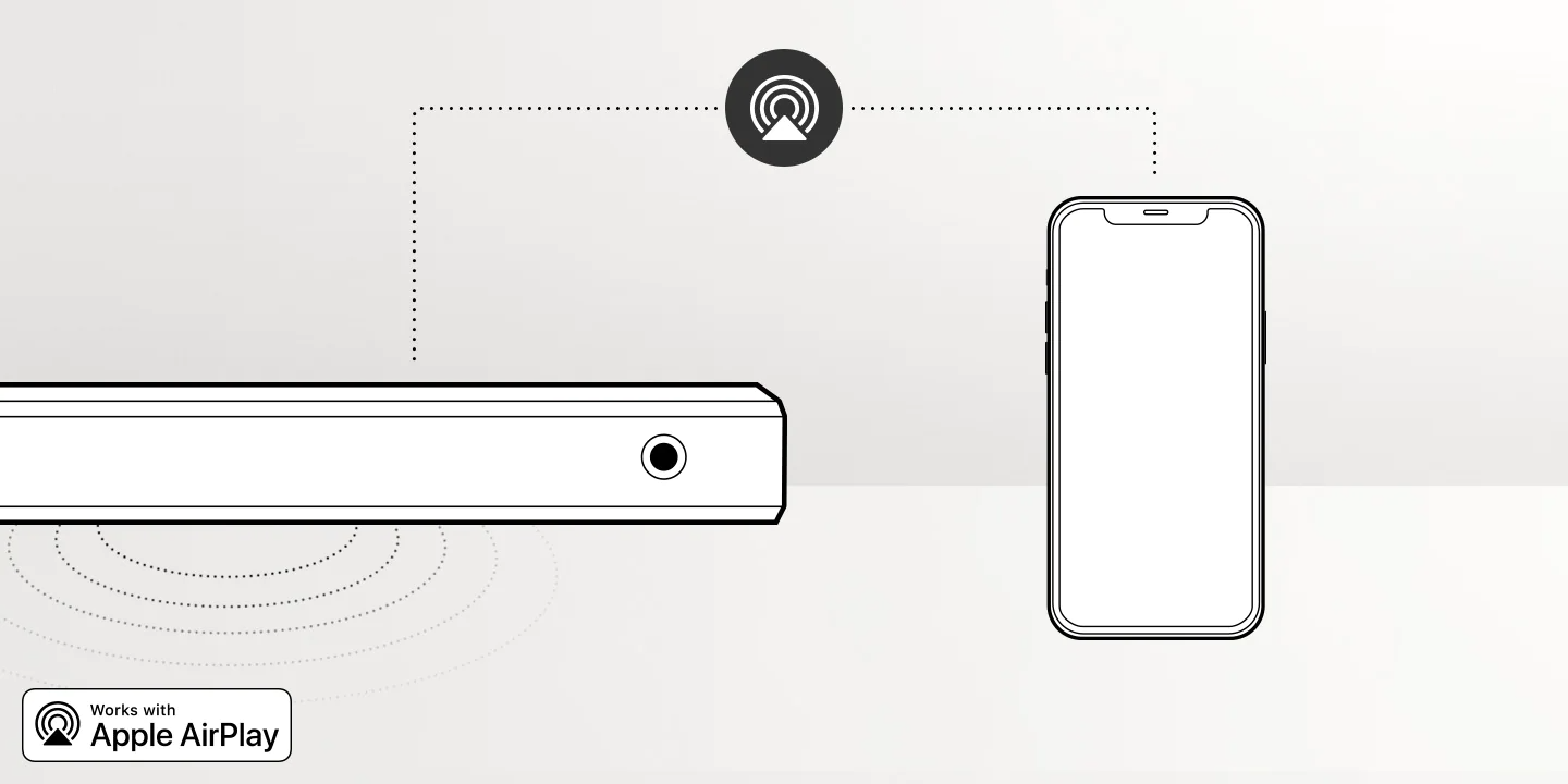 Illustration of the Samsung Q Soundbar's built-in Apple AirPlay 2 feature which lets smartphone audio play through soundbar without the need to pair the devices.