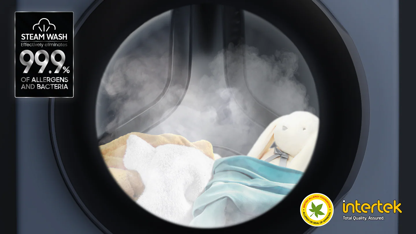 Steam wash certified by BAF and Intertek, steam is dispersed inside the washing machine door to remove allergens and bacteria up to 99.9%.