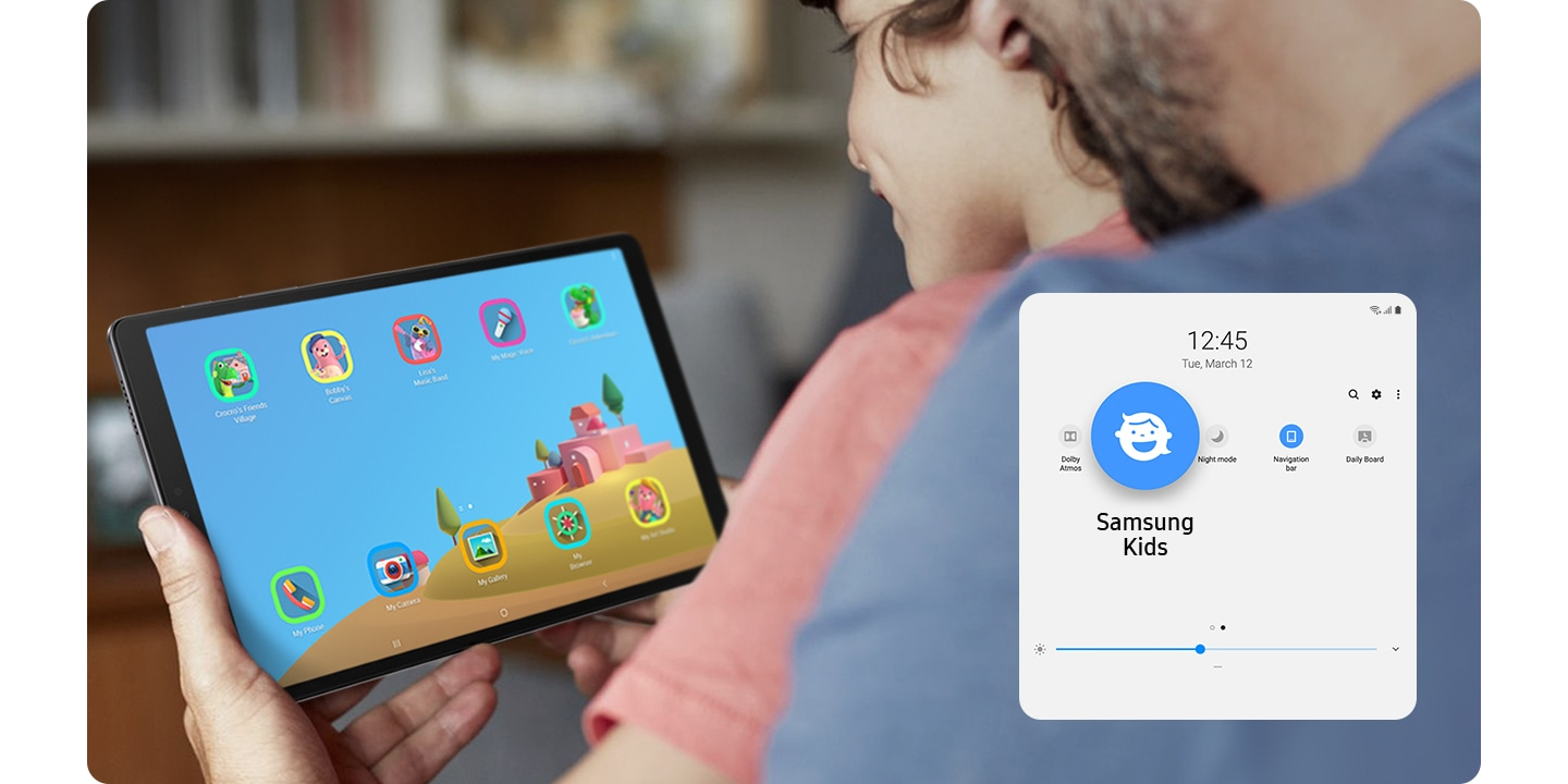 A young kid sitswith parents, grinningat hisGalaxy Tab A7 Lite.Theparental usage controlfeatureappears atthe bottom.