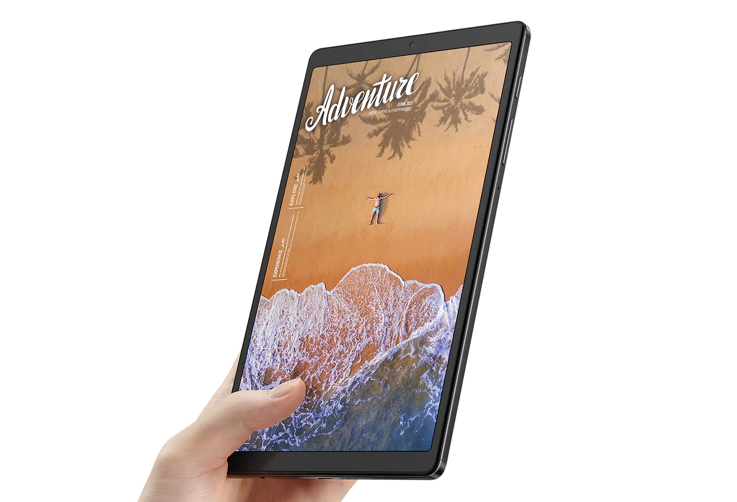 A hand holding Galaxy Tab A7 Lite  with a beach scene with the word Adventure onscreen.