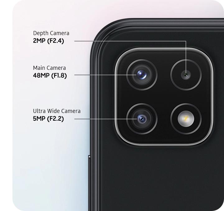 A rear close-up of Triple Camera on the Gray model, showing F1.8 48MP Main Camera, F2.2 5MP Ultra Wide Camera, and F2.4 2MP Depth Camera.