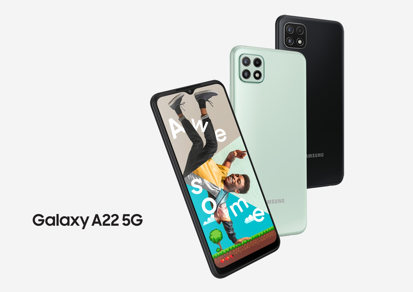 Three Galaxy A22 5G series phones in a row. One seen from the front, and onscreen is a collage of a man's arm, upper body, and legs with the word Awesome. Two seen from the rear to show the rear camera and the colors violet and gray.