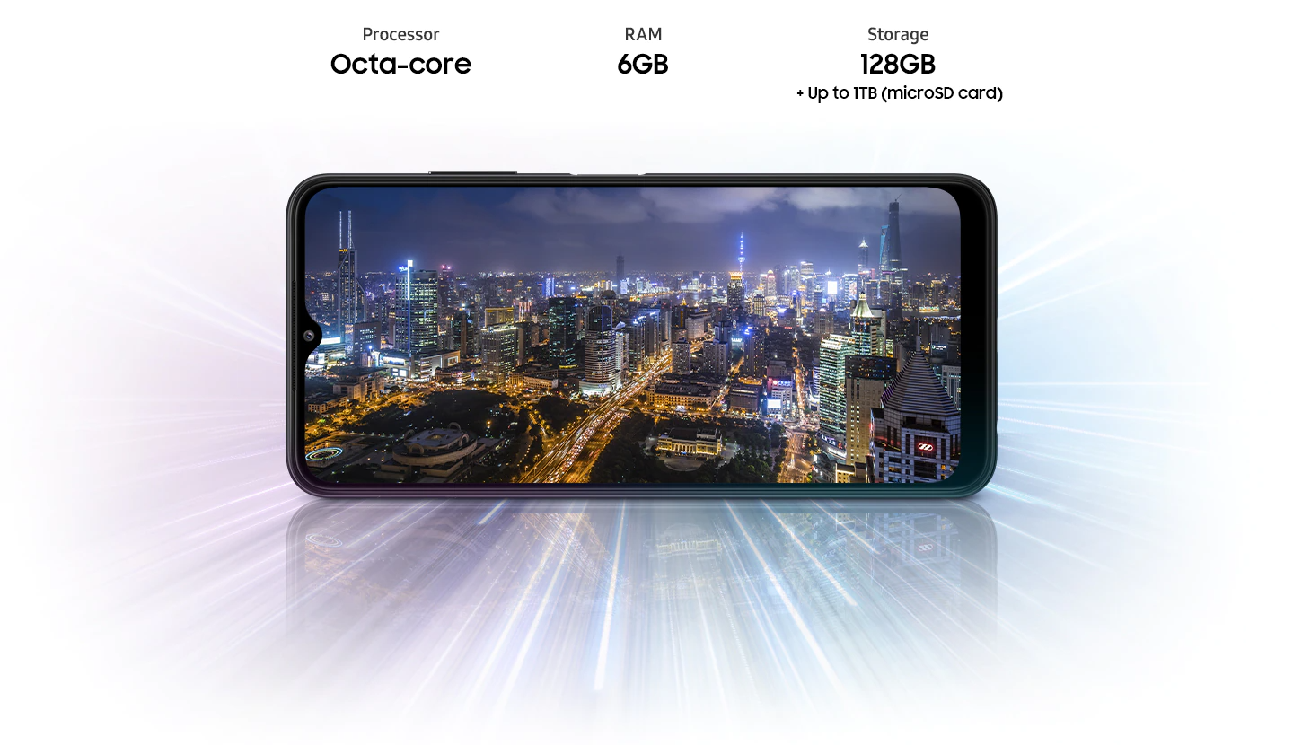 Galaxy A22 5G shows night city view, indicating device offers Octa-core processor, 4GB/6GB/8GB RAM, 64GB/128GB with up to 1TB-storage.