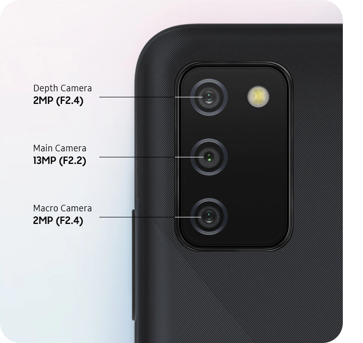Top back view of a device shown with 3 lenses for 13MP main camera, 2MP depth camera and macro camera respectively.