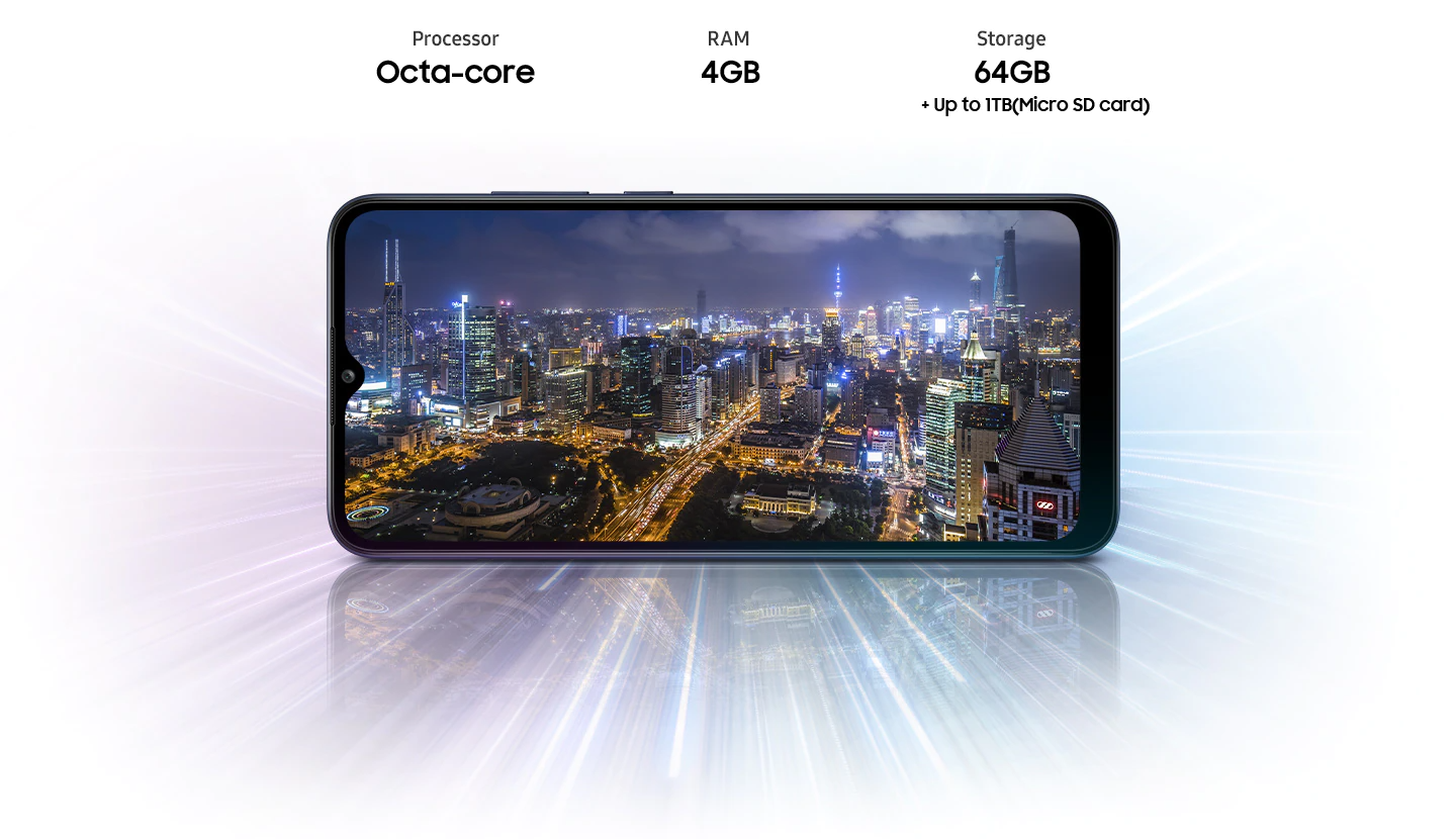 A02s shows night city view, indicating device offers Octa-core processor, 4GB RAM, 64GB with up to 1TB-storage.
