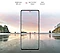 Galaxy A72 seen from the front. A scene of a man standing on a beach at sunset. Brightness 800 nits, Eye Comfort Shield with the SGS logo and Real Smooth.