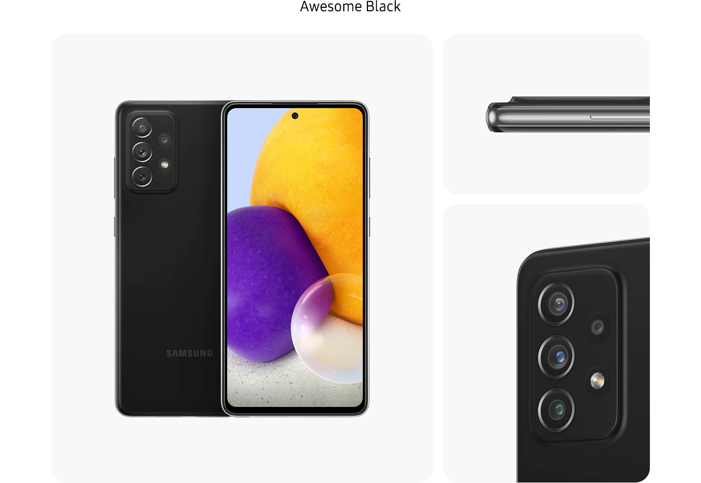 Galaxy A72 in Awesome Black, seen from multiple angles to show the design: rear, front, side and close-up on the rear camera.