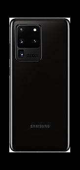 Galaxy S20 Ultra in Cosmic Black seen from the rear
