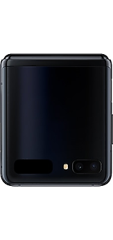 Galaxy Z Flip in Mirror Black folded and seen from the front showing the rear camera and the Cover Display