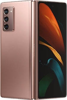 Galaxy Z Fold2 in Mystic Bronze, seen from the rear slightly unfolded with the butterfly wallpaper on the Cover Screen.