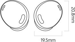 Illustration of Galaxy Buds Pro earbuds to show dimensions.