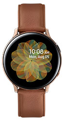 44mm stainless Gold Galaxy Watch Active2 with brown leather strap