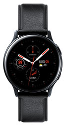 44mm stainless black Galaxy Watch Active2 with black leather strap