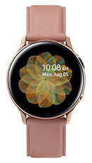 40mm stainless Gold Galaxy Watch Active2 with Pink leather strap