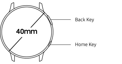 40mm galaxy watch active2 button position information