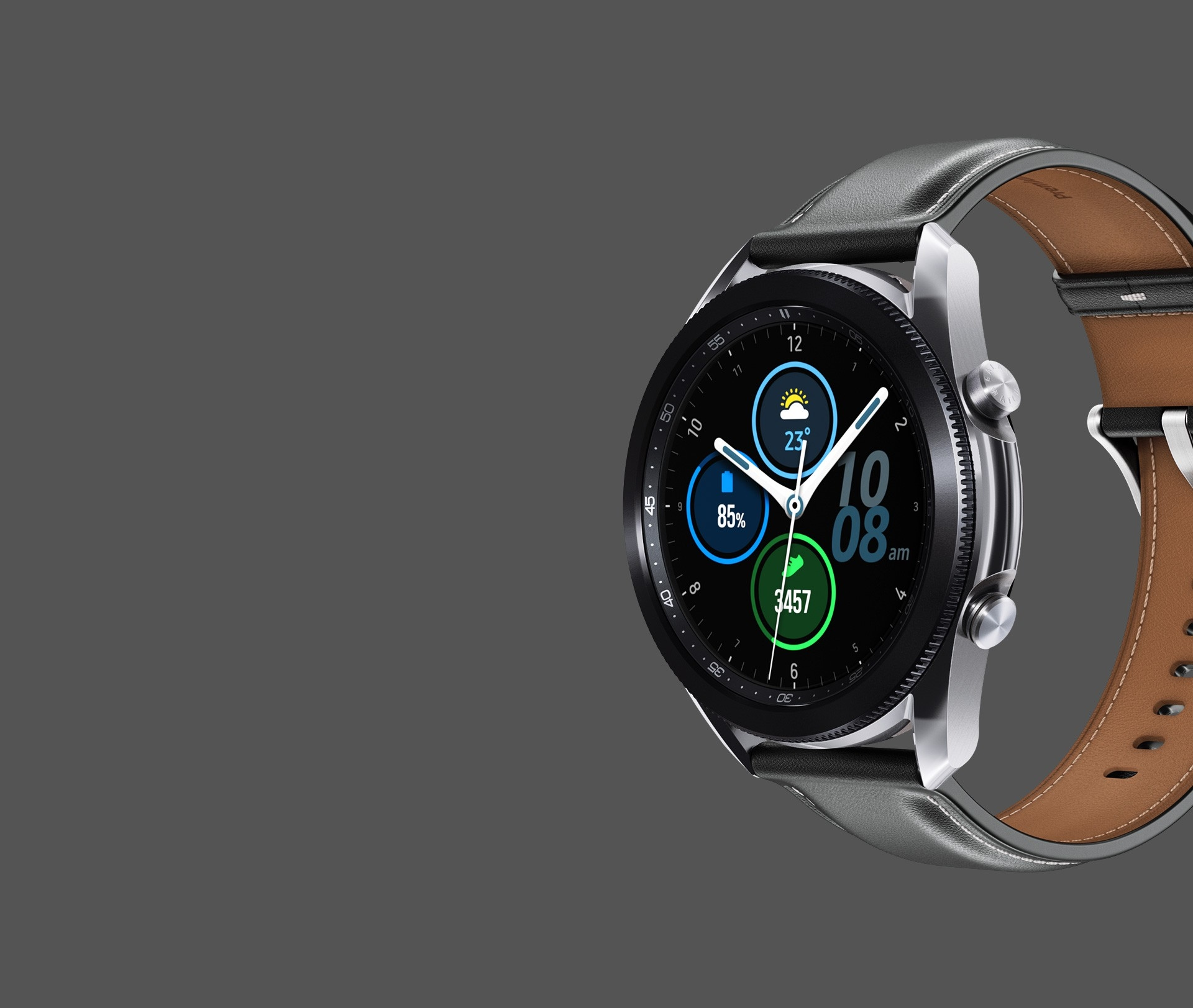 Description: 45mm Galaxy Watch3 in Mystic Silver with an Analog Modular Watch Face seen from an angle