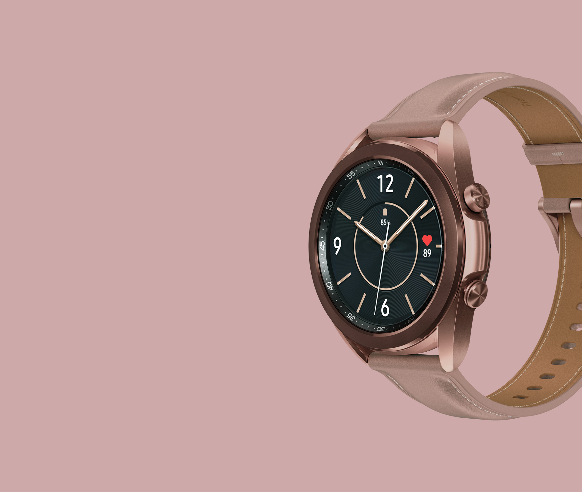 Description: 41mm Galaxy Watch3 in Mystic Bronze with a Female Classic Watch Face seen from an angle