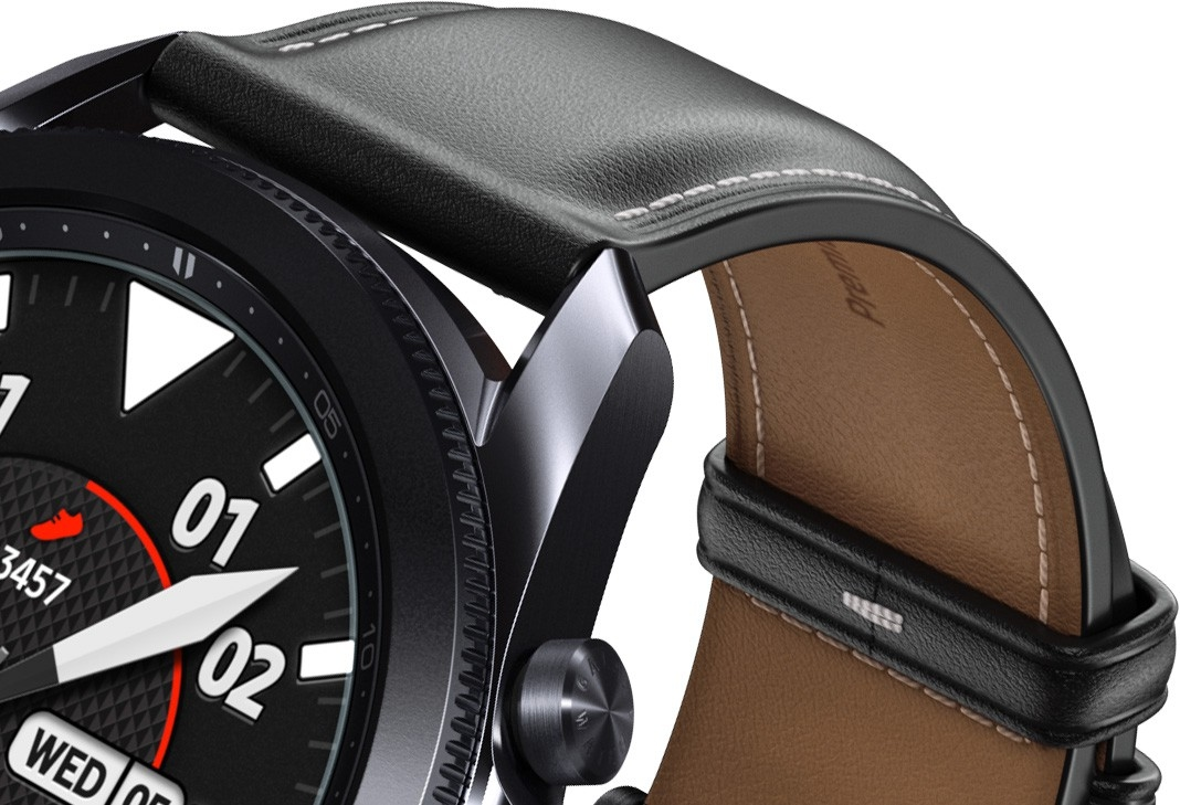 Description: An underside view of the 41mm Galaxy Watch3 in Mystic Bronze and 45mm Galaxy Watch3 in Mystic black, highlighting the premium leather strap.