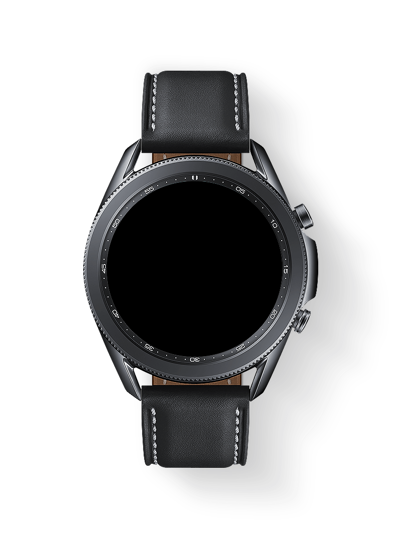 Description: Messages show the sending and receiving messages. A selfie is received, zooming out to show the 45mm Galaxy Watch3 in Mystic Black with Smart Reply GUI.