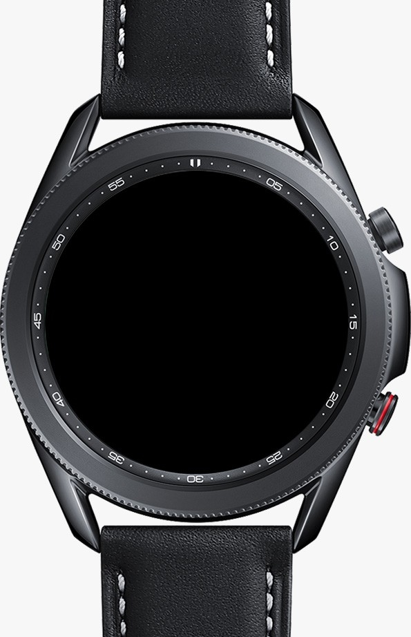 Description: Front view of 45mm Galaxy Watch3 in Mystic Black with LTE function GUIs to show how you can call, message right from your watch.
