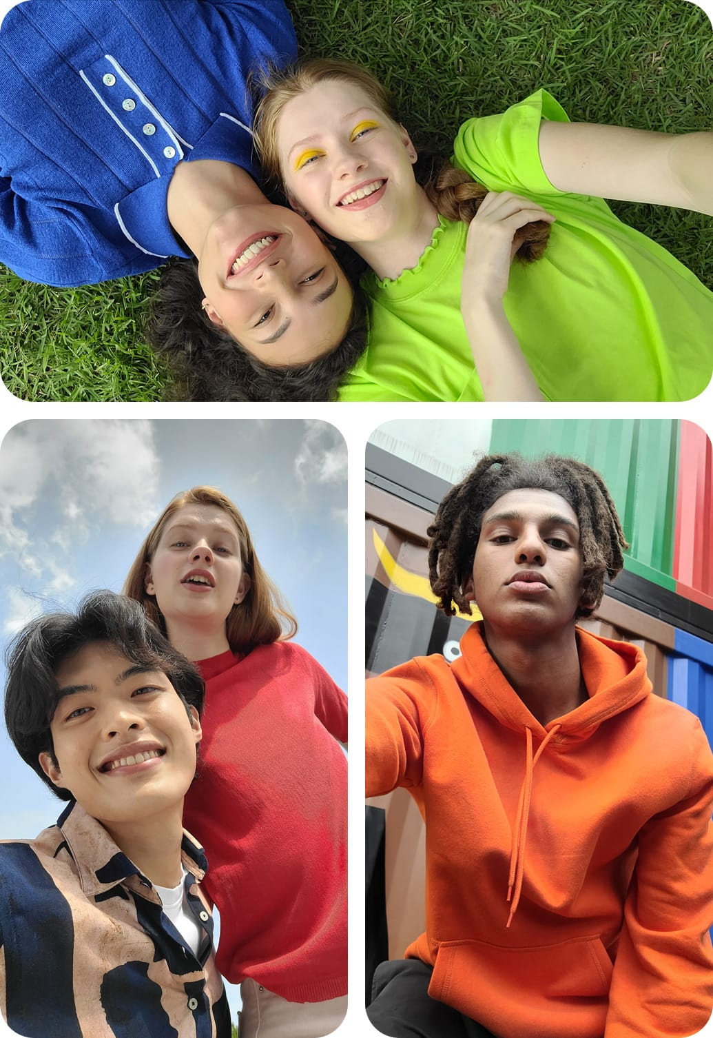 Description: Three kinds of selfies, taken with the 32MP Front Camera for high quality, detailed shots. Two women are laying in a field with their heads touching. A low-angle selfie of a woman. A low-angle selfie of a man and a woman looking down at the phone.
