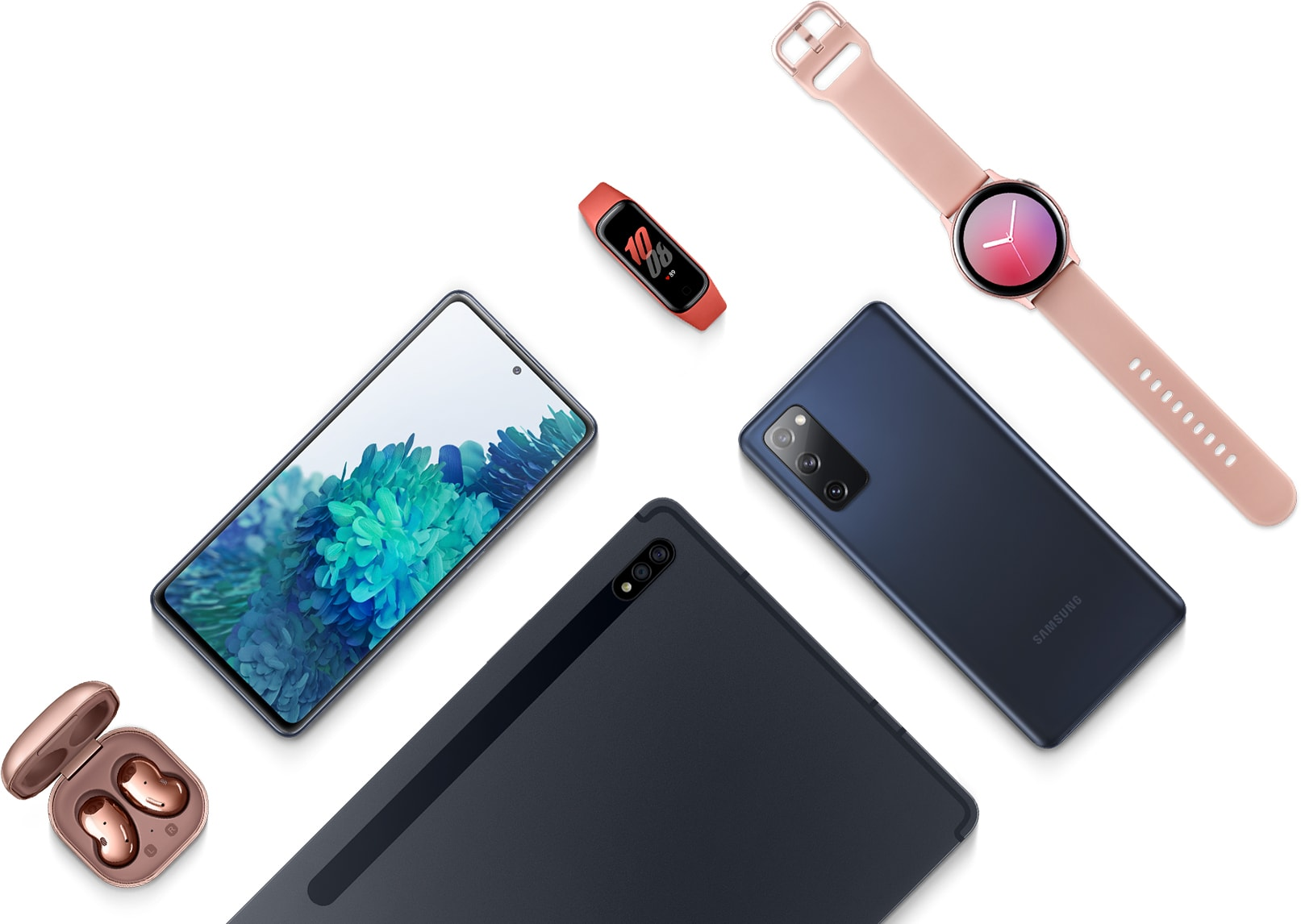 Description: A flatlay with the Galaxy S20 FE in Cloud Navy seen face up, Galaxy S20 FE in Cloud Navy laying facedown, Galaxy Tab S7 in Mystic Black, Galaxy Buds Live earbuds in Mystic Bronze, Galaxy Fit2 in Red, and Galaxy Watch Active2 in Pink Gold.