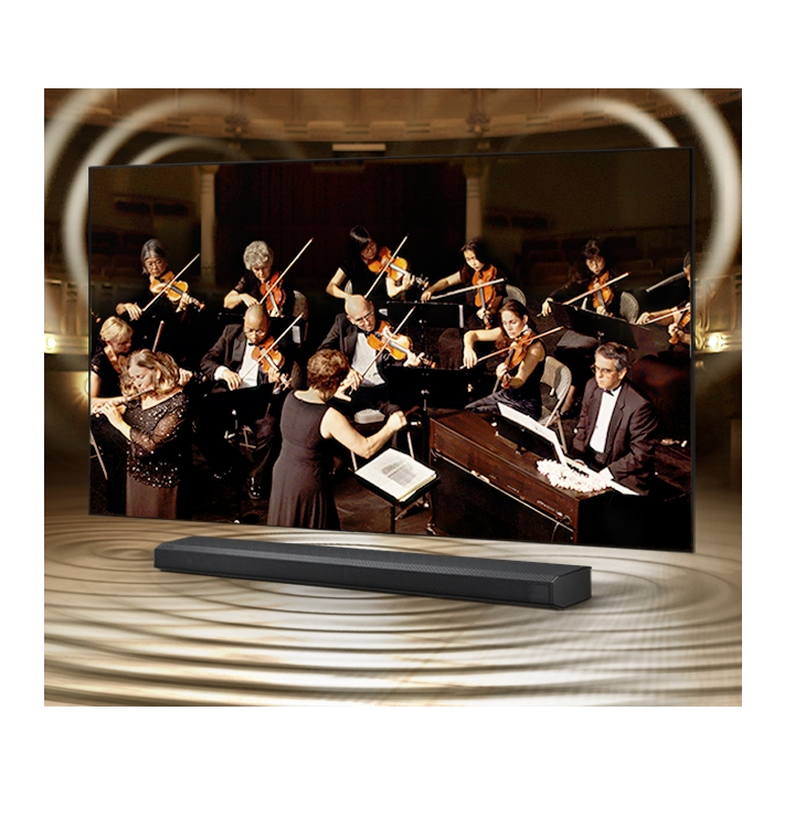 Simulated sound wave graphics from TV and soundbar demonstrate Q Symphony technology as they play sound together.