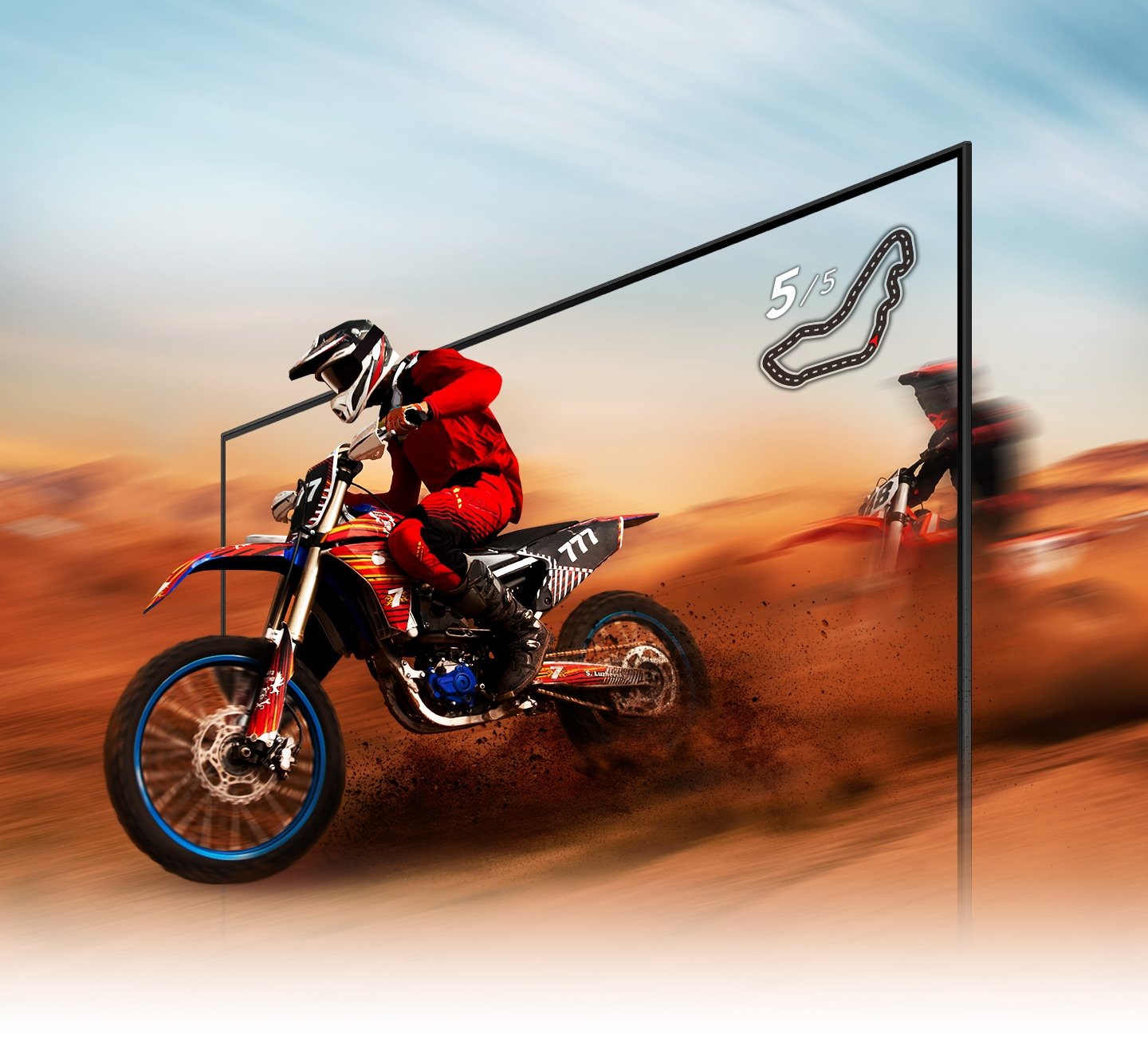 A dirt bike racer looks clear and visible inside the QLED TV screen because of QLED TV motion xcelerator technology.