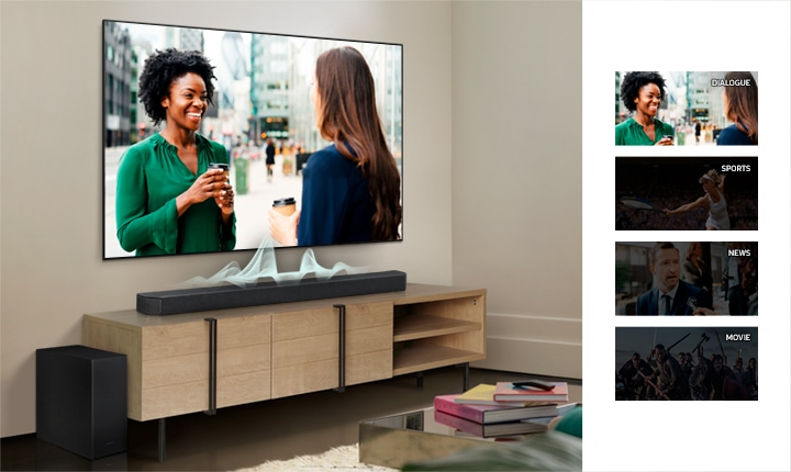 A TV display changes from dialogue, sports, news, to movies and the soundbar shows different audio waves for each to show how the soundbar adapts to voices within each content.