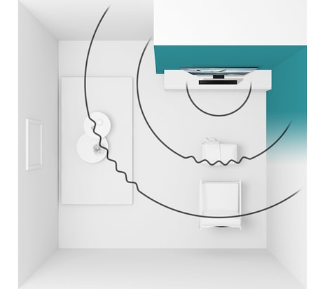 Illustration of SpaceFit Sound feature shows wall-mounted Samsung Q Soundbar projecting soundwaves across a living room and optimizing the TV sound settings according to TV and Soundbar's corner room placement.