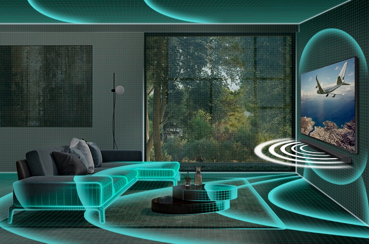Samsung Q Soundbar is paired with QLED TV. SpaceFit Sound technology uses soundwaves to analyze living room interior data, which it then uses to optimize the TV and soundbar sound settings.