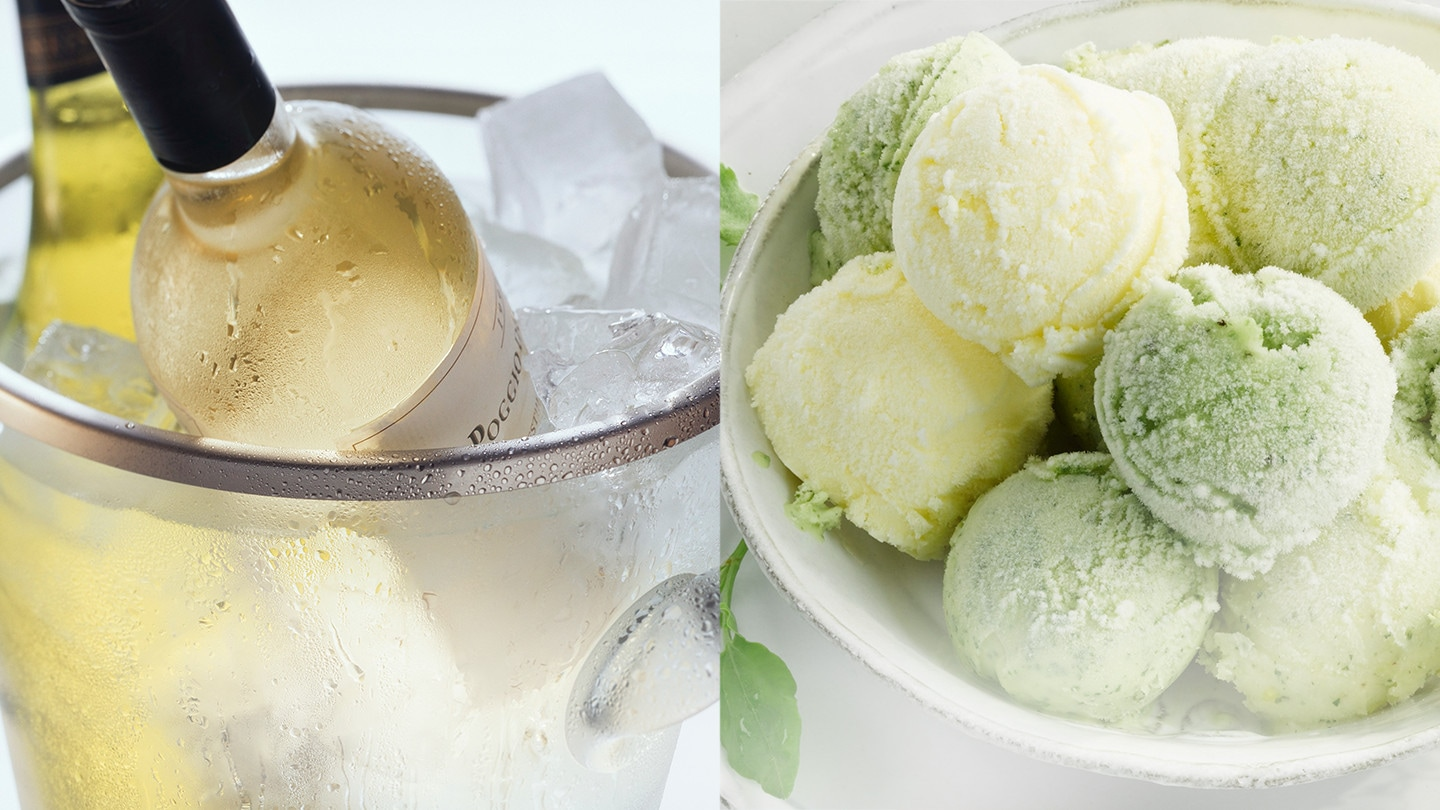 There is cold wine and freeze ice cream.