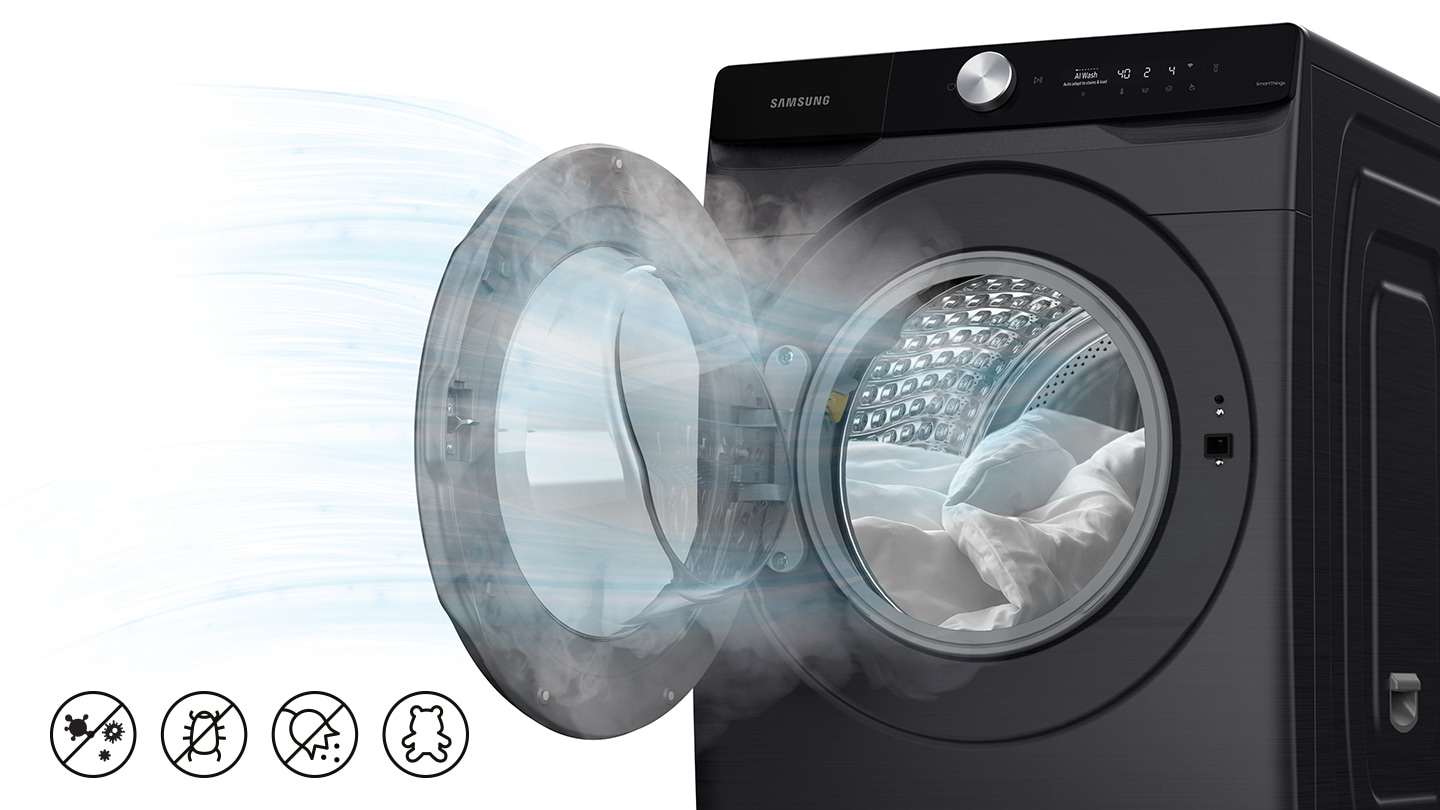 A strong airflow is coming out from the WD6000T, and the icons below describe bacteria and germ removal.