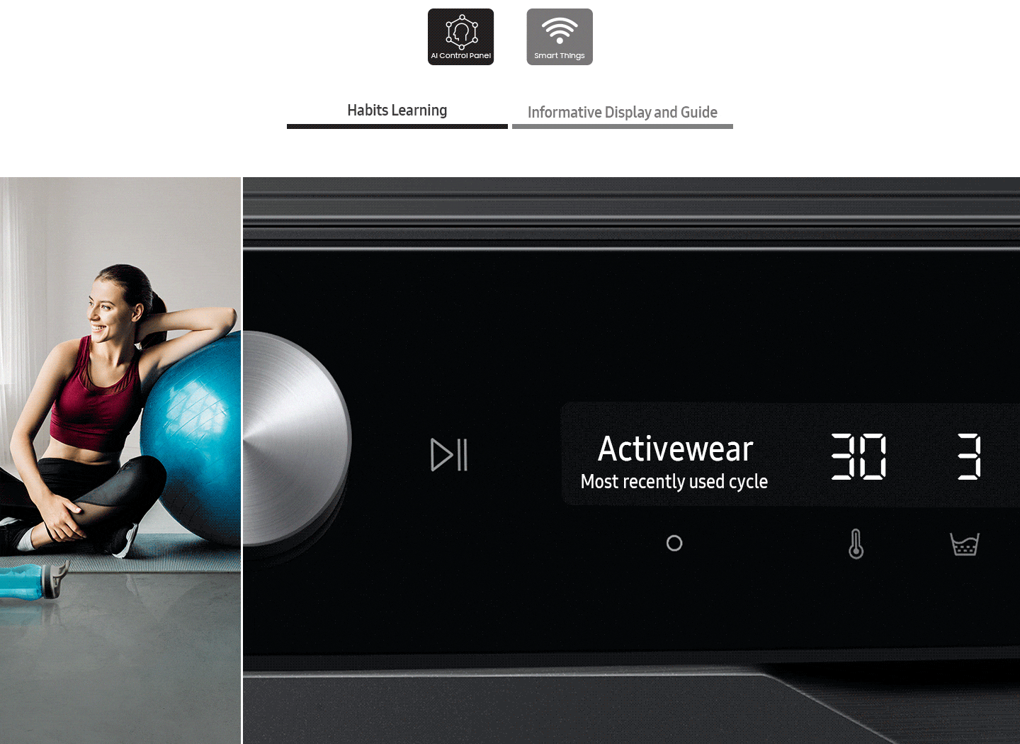 The AI washer's control panel displays the Habits learning, Informative display and guide.