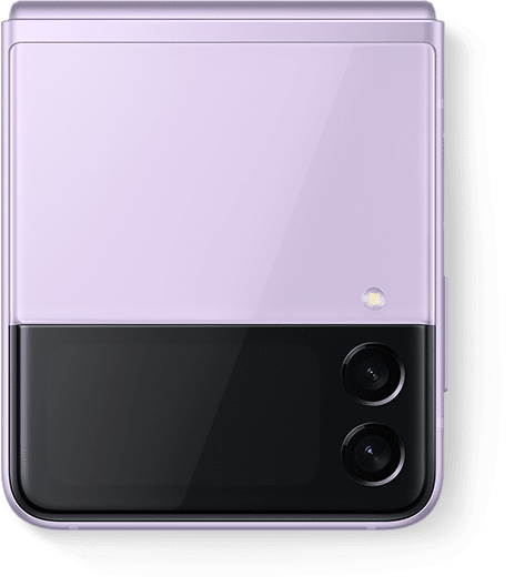 Description: Galaxy Z Flip3 5G in Lavender folded and seen from the Front Cover.