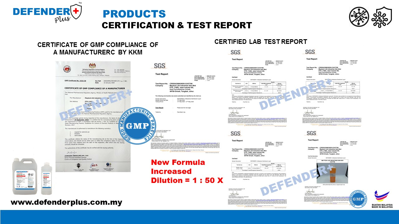 DEFENDER+ PLUS MALAYSIA - DEFENDER+ PLUS ALL NEW 1:50X CERTIFIED TEST REPORT