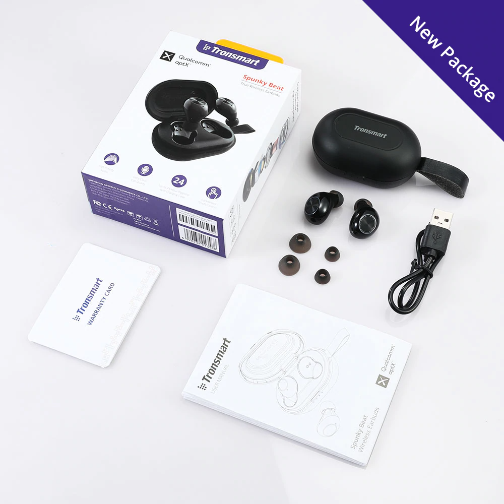 Tronsmart Spunky Beat Bluetooth TWS Earphone APTX Wireless Earbuds with QualcommChip, CVC 8.0, Touch Control, Voice Assistant new