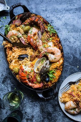 Skillet Grilled Seafood and Chorizo Paella | HBH.jpg
