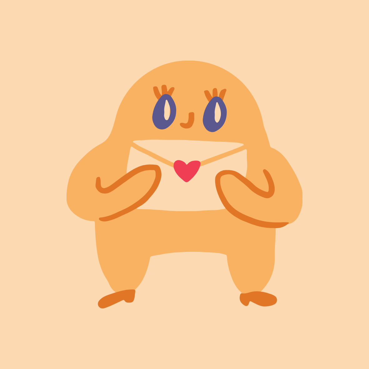 Red and Purple Love Monster Ghost Holding Heart Balloon Cute and Playful Circle Laptop Sticker (10).png