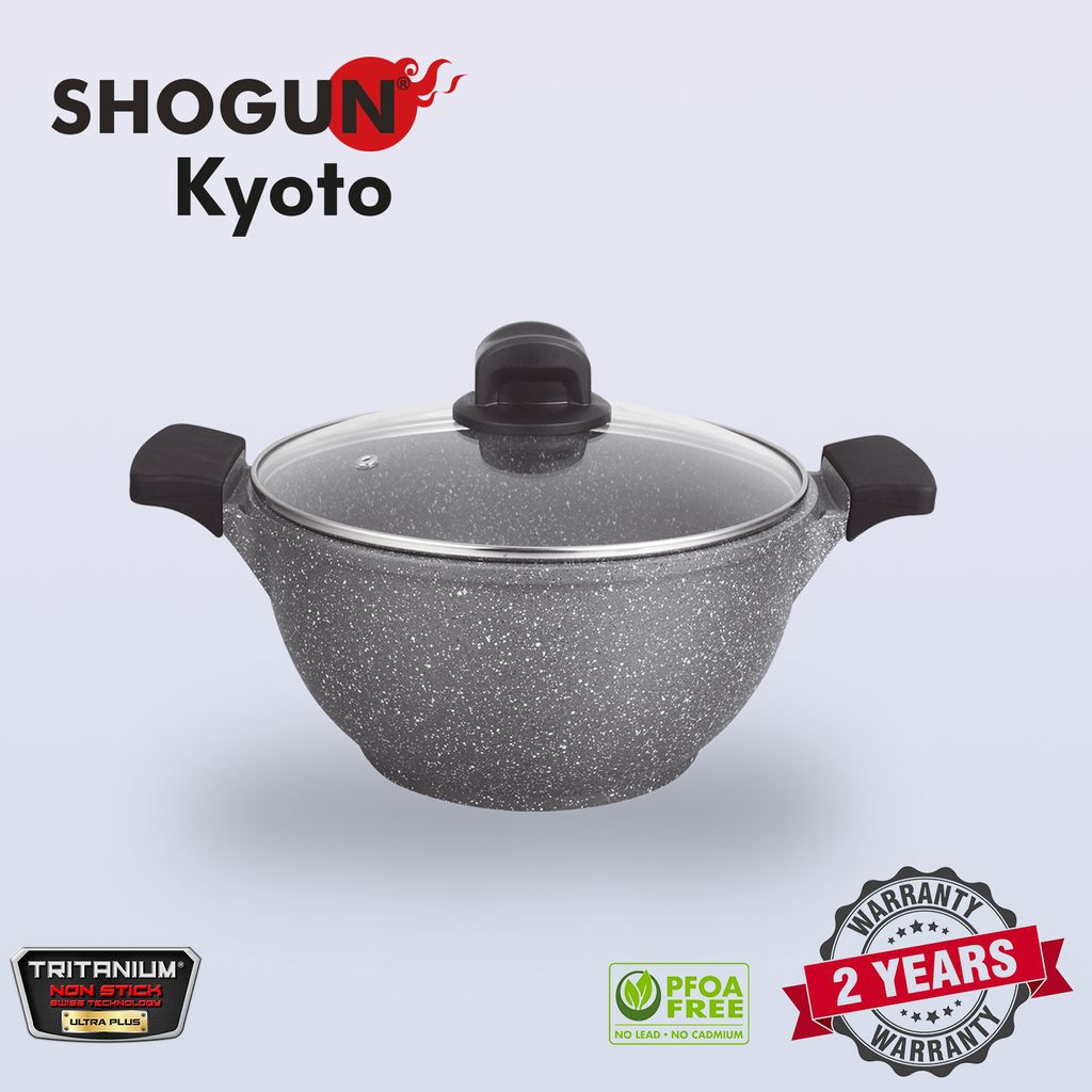Shogun Kyoto 28cm cast casserole with 2pcs silicone sleeves and glasslid with Induction.jpg