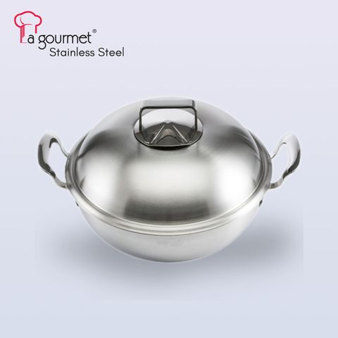 28cm  5ply Gourmet 18-10 stainless steel Wok w-steamer insert and stainless steel cover.jpg