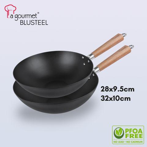 La gourmet ® Blue Steel 28-32cm round bottom stir wok with mark acacia wooden long handle and helper handle (3.7L).jpg