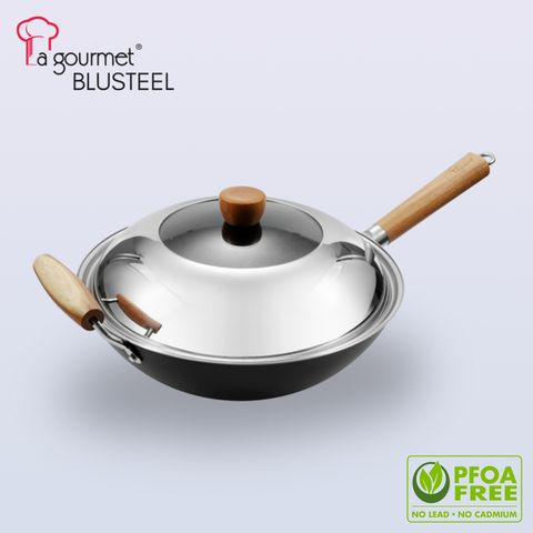 La gourmet ® Blue Steel 32 x 10cm round bottom stir wok with cover with  mark acacia wooden long handle and helper handle (5.2L).jpg