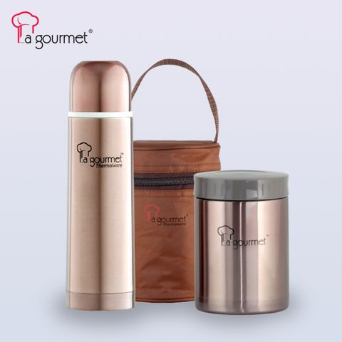 LG Sakura 0.58L Food Jar in pouch + 0.5L Flask in gift set- Brass Brown.jpg