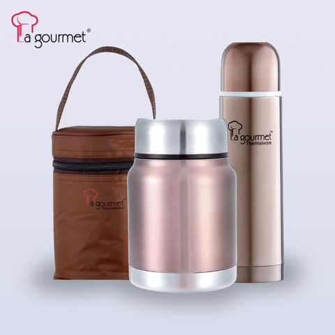 LG Sakura 3pcs On-The-Go (0.5L Thermal flask+ 0.5L Thermal Cooker pot with Pouch- Brass Brown).jpg